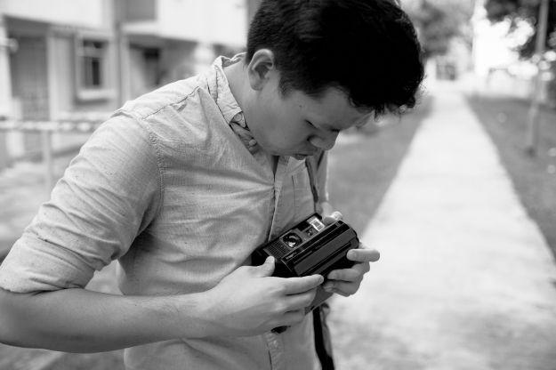 Damian w Polaroid Spectra (Deon's camera)